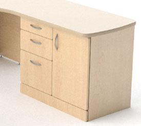Private desk under desk storage